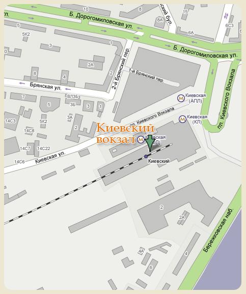 Карта проезда до Киевского вокзала